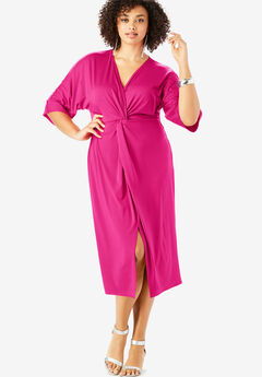 Knot-Front Sheath Dress with Dolman Sleeves, VIVID PINK