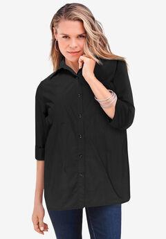 Three-Quarter Sleeve Kate Big Shirt, BLACK
