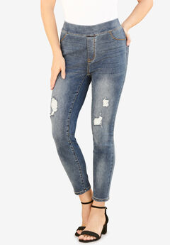 The No-Gap Jegging by Denim 24/7®, DISTRESSED