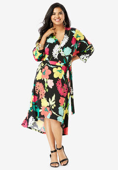 Dolman-Sleeve Wrap Dress with High-Low Hem, MULTI GRAPHIC FLORAL PRINT