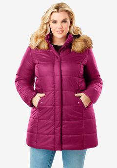 Classic-Length Quilted Parka with Hood, BERRY TWIST