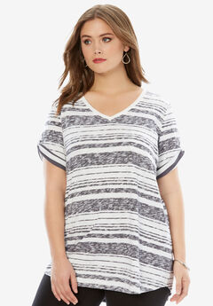 Boyfriend Slub Tunic, DARK CHARCOAL STRIPE, hi-res