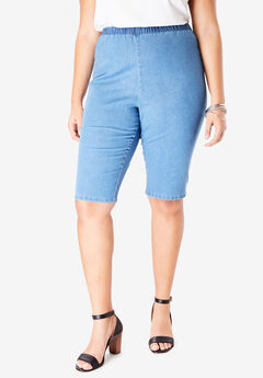 Pull-On Stretch Bermuda Jean Short by Denim 24/7®, LIGHT STONEWASH