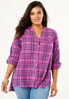 Plaid Flannel Maxi Tunic with High-Low Hem, MAGENTA WINDOW PLAID
