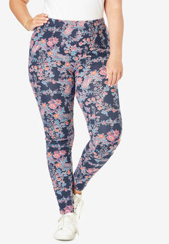 Essential Stretch Legging, NAVY FLORAL PAISLEY
