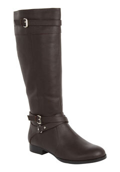 The Janis Wide Calf Boot by Comfortview®, DARK BROWN