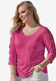 Lattice Three-Quarter Sleeve Tee, RASPBERRY, hi-res