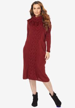 Fringed Cowl-Neck Sweater Dress, RICH BURGUNDY