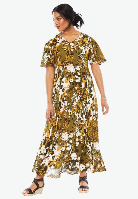 Crinkle Short Sleeve Maxi Dress| Plus Size Dresses | Roaman\'s