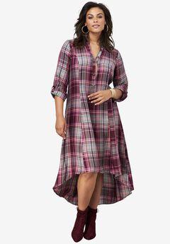 Plaid Shirt Dress, BERRY PLAID, hi-res