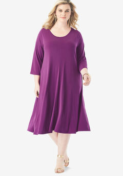 Three-Quarter-Sleeve Swing Drape Dress, PLUM PURPLE