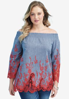 Lace Denim Shirt, CORAL RED COMBO, hi-res
