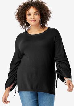 Drawstring Bell-Sleeve Sweater,
