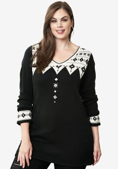 Jacquard Sweater, BLACK, hi-res