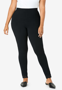 Lace-Trim Essential Stretch Legging, BLACK