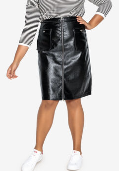 Patent Leather Zip-Front Skirt Castaluna by La Redoute,