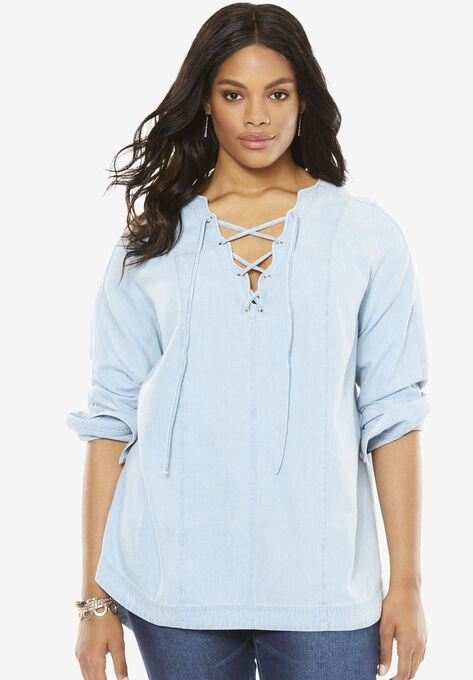 10e31355153 Denim Lace Up Tunic by Denim 24/7®| Plus Size Tops | Roaman's