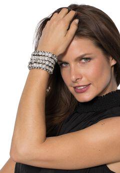 Rhinestone Bracelet, SILVER, hi-res