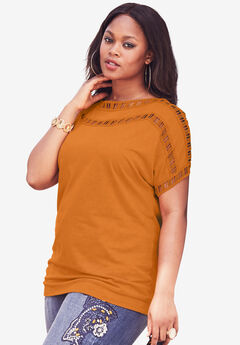 Open-Stitch Tee, PUMPKIN SPICE, hi-res