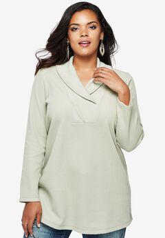 Thermal Shawl Collar Tunic, MOONSTONE, hi-res