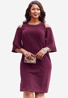 Jewel Embellished Dress, MIDNIGHT BERRY, hi-res
