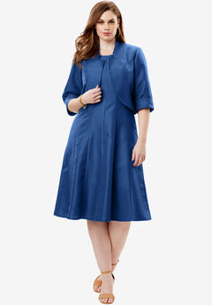 Fit-And-Flare Jacket Dress, ROYAL NAVY, hi-res