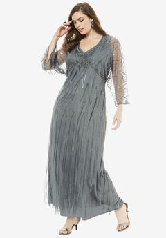 Beaded Dress by Pisarro Nights, GUNMETAL, hi-res