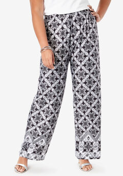 Wide-Leg Pant, BLACK MEDALLION PRINT