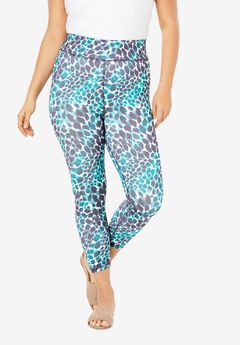 Performance Capri Legging, GREEN TEXTURED ANIMAL