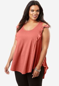 Fit-And-Flare Ruffle Tunic with Cutout Sleeves,