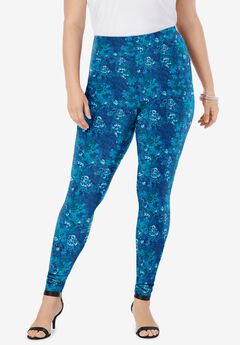 Ankle-Length Essential Stretch Legging, NAVY TEXTURED FLORAL