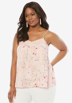 Silky Lace Trim Cami, MISTY ROSE PRINT, hi-res