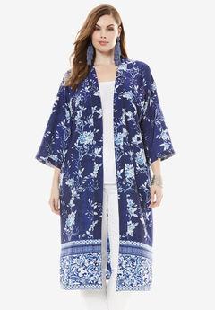 Reversible Printed Kimono Jacket,