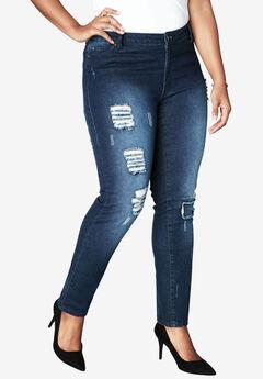 Distressed Jeans by Denim 24/7®, INDIGO WASH, hi-res