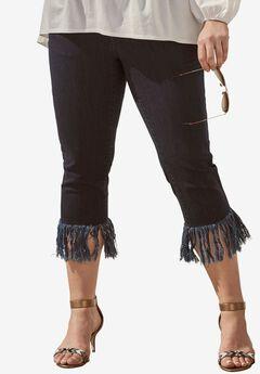 Fringed Hem Jeans by Denim 24/7, INDIGO WASH, hi-res
