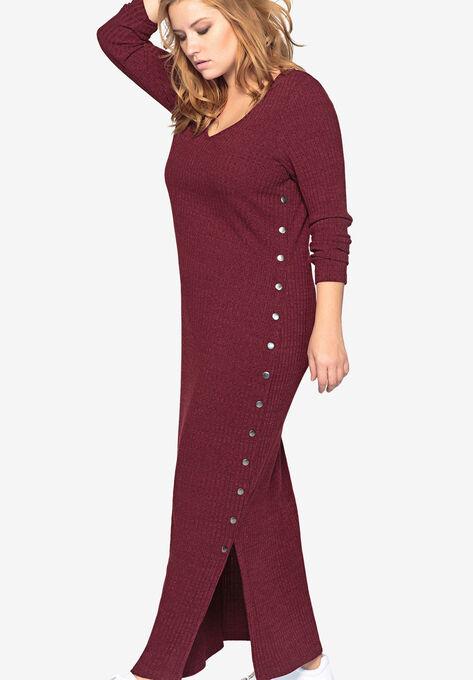 Long Sleeve Knit Maxi Dress by Castaluna| Plus Size Casual Dresses ...