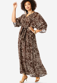 Crinkle Belted Maxi Dress, BROWN BEIGE ABSTRACT