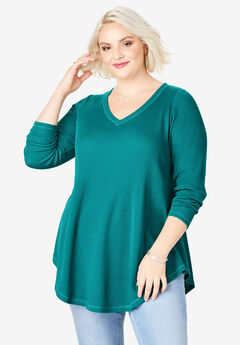 V-Neck Thermal Maxi Tunic, GEMSTONE GREEN