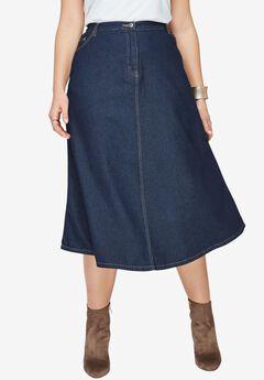 Denim A-line Skirt, , hi-res