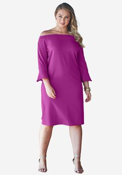 Off-The-Shoulder Bell Sleeve Dress, RASPBERRY, hi-res