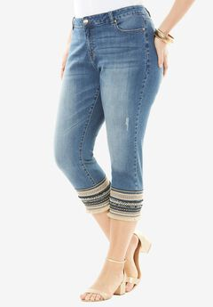 Striped Hem Capri Jean by Denim 24/7®, MEDIUM STONEWASH, hi-res