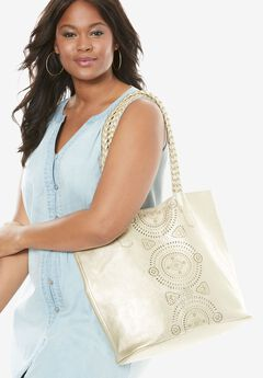 Perforated Metallic Tote,