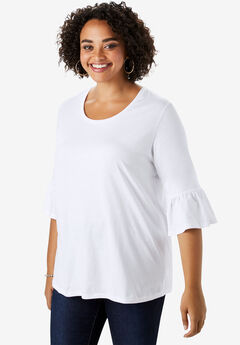 Bell-Sleeve Ultimate Tee with Scoop Neck,