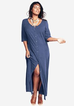 Button Front Maxi Dress, ROYAL NAVY, hi-res