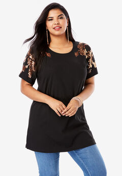 Embellished Tunic with Side Slits, BLACK ROSE