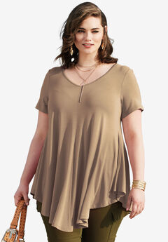 V-Neck Swing Drape Tunic,