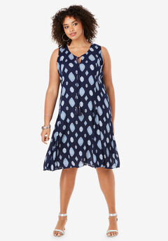 1d691901aaa A-Line Crinkle Dress with Tassel Ties