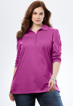 Polo Long Sleeve Ultimate Tee , RICH MAGENTA, hi-res