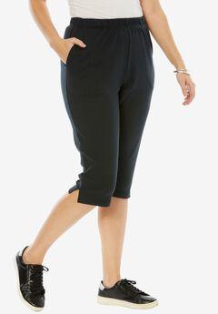 Soft Knit Capri, BLACK, hi-res