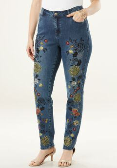 Floral Embroidered Skinny Jean by Denim 24/7®,